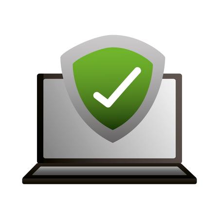 laptop shield protection check mark vector illustration Illustration