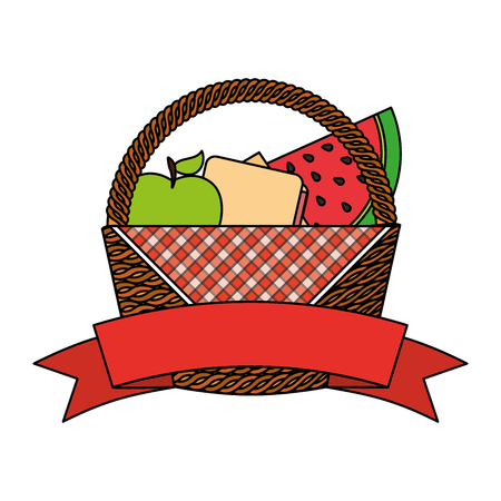 wicker basket fruits cheese food picnic vector illustration