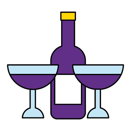 wine bottle and glasses on white background vector illustration
