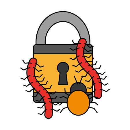 padlock worms bug virus attack cyber security data vector illustration Banque d'images - 110193401
