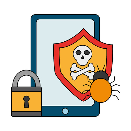 mobile shiedl protection bug padlock cyber security data vector illustration
