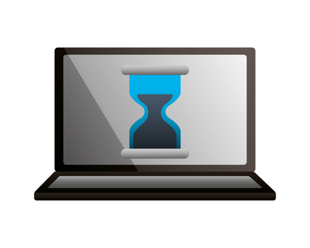 laptop hour glass time business vector illustration