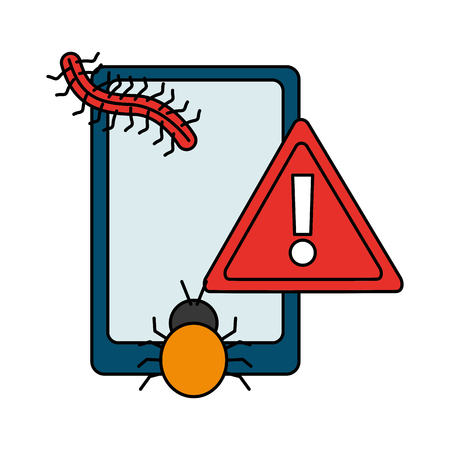 mobile bug alert virus cyber security data vector illustration