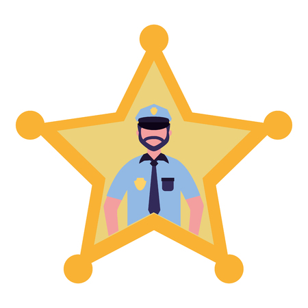 police star man justice character vector illustration