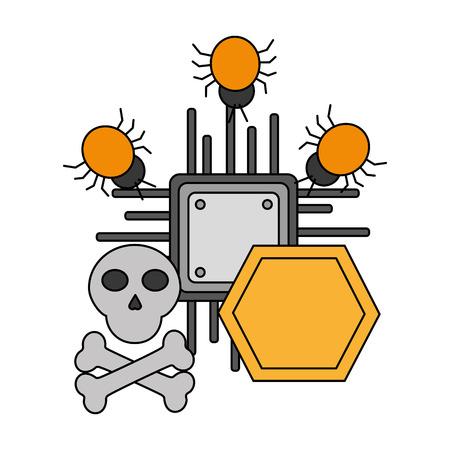 circuit board skull cyber security data vector illustration