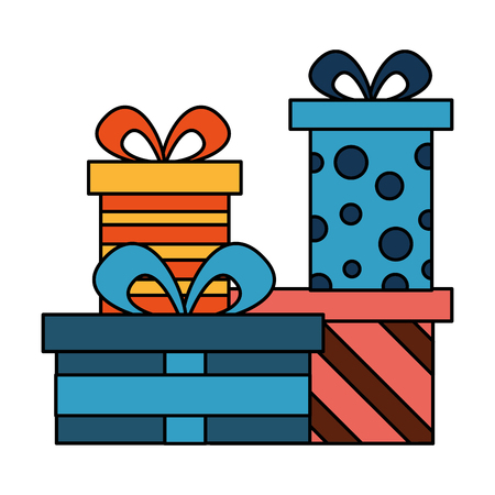collection gift boxes birthday celebration vector illustration