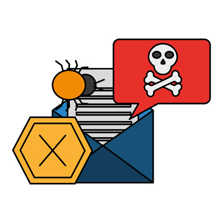 email message spam virus cyber security data vector illustration