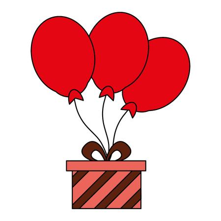 gift box with balloons birthday celebration vector illustration