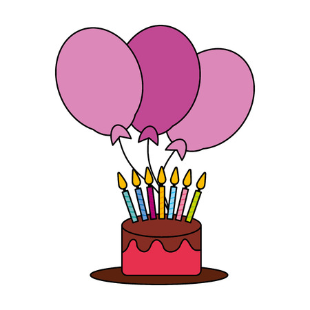 sweet birthday cake with candles and balloons vector illustration