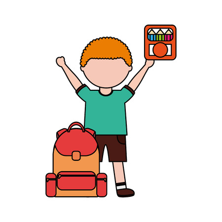 boy with backpack and color pencils back to school vector illustration