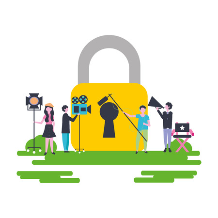 outdoor padlock safe people filming movie vector illustration