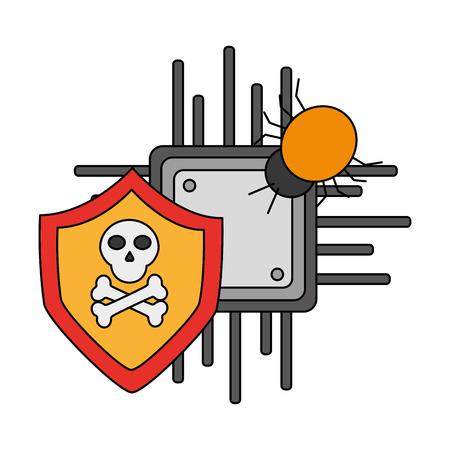 motherboard bug virus cyber security data vector illustration Illustration