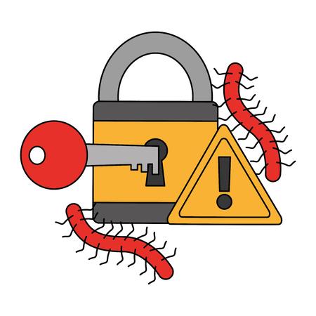 padlock key alert worm virus cyber security data vector illustration