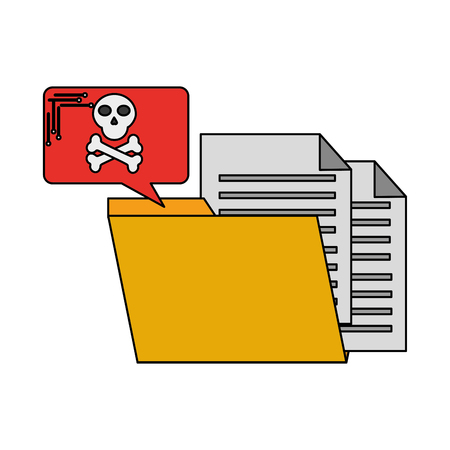 folder problem cyber security data vector illustration