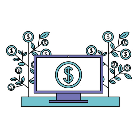 computer business plant growth coin money vector illustration Illustration