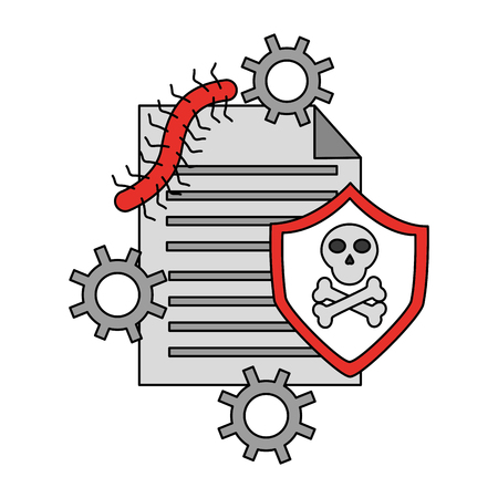 document worm attack virus cyber security data vector illustration