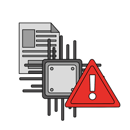 motherboard circuit document warning cyber security data vector illustration