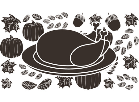 turkey food dish pumpkin on white background vector illustration