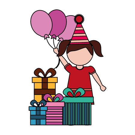little girl with balloons and gifts birthday celebration vector illustration