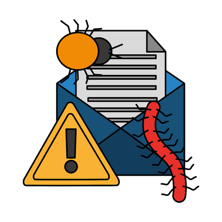 email infected warning spam cyber security data vector illustration