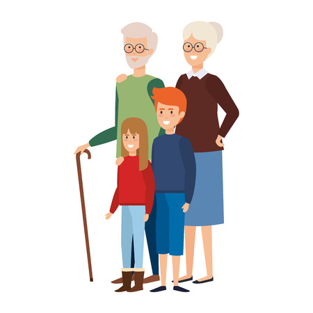 grandparents couple with kids vector illustration design