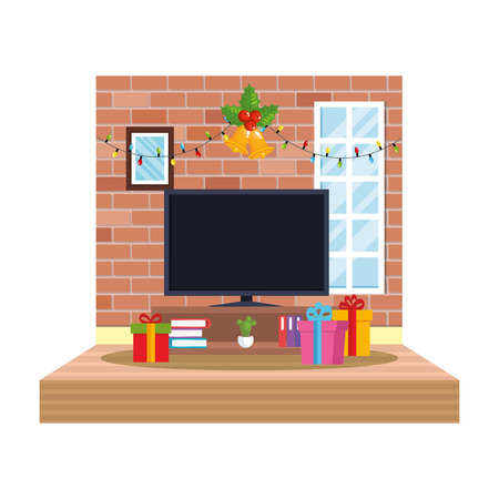 living room with christmas decoration scene vector illustration design Foto de archivo - 110297130