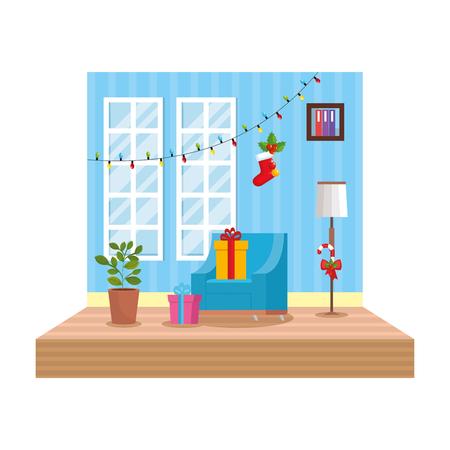 living room with christmas decoration scene vector illustration design Foto de archivo - 110297133