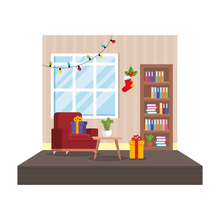 living room with christmas decoration scene vector illustration design Stock Vector - 110297137