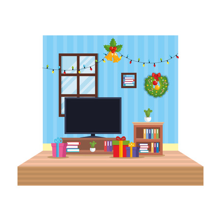 living room with christmas decoration scene vector illustration design Illustration
