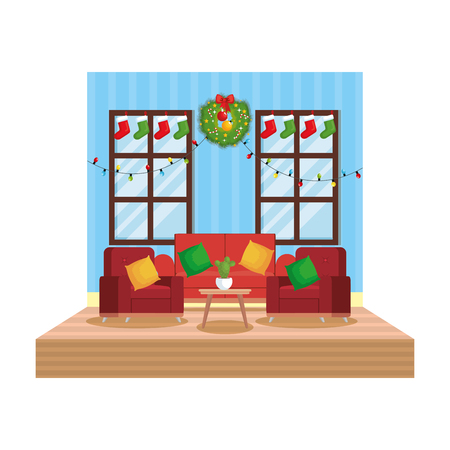 living room with christmas decoration scene vector illustration design Stock Vector - 110297141