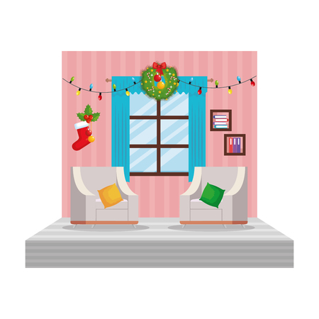 living room with christmas decoration scene vector illustration design Stock Vector - 110297138