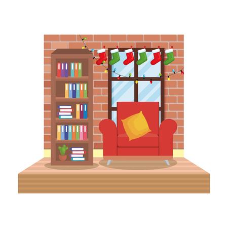 living room with christmas decoration scene vector illustration design Illustration
