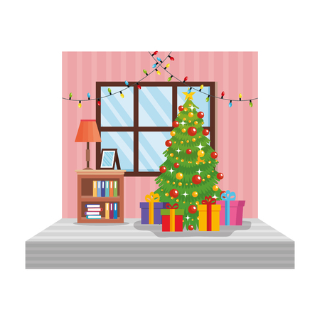 living room with christmas decoration scene vector illustration design