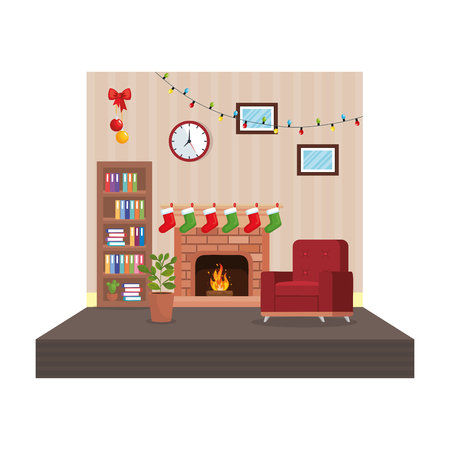 living room with christmas decoration scene vector illustration design Stock Illustration - 110297148