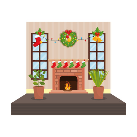 living room with christmas decoration scene vector illustration design Stock Vector - 110297158