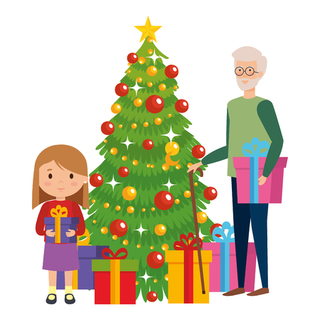 grandfather with granddaughter and christmas tree vector illustration