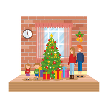 parents with kids in livingroom with christmas decoration vector