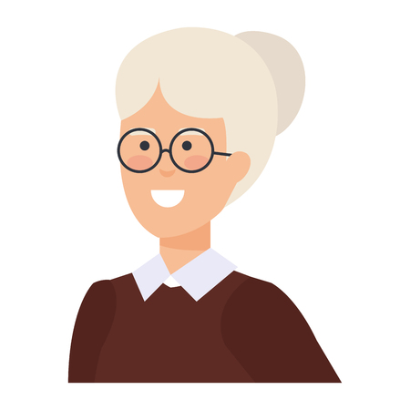 grandmother with december clothes vector illustration design