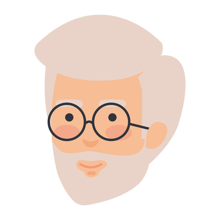 head old man with beard and glasses avatar character vector illustration Illustration