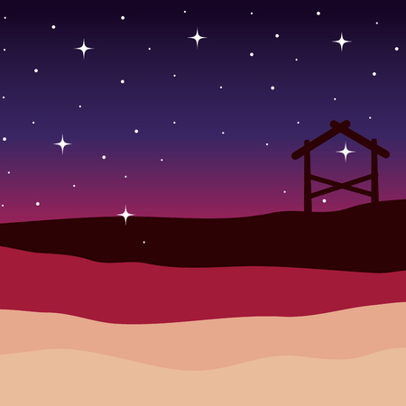 desert night with stable manger scene vector illustration design