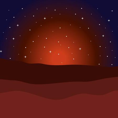 Diseño del ejemplo del vector del fondo de la escena del pesebre de la noche del desierto