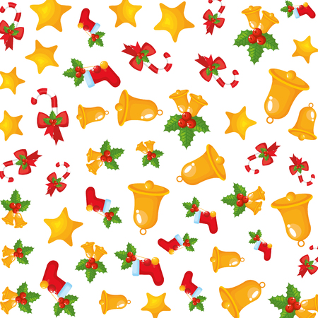 christmas bells and leafs decorative pattern vector illustration design