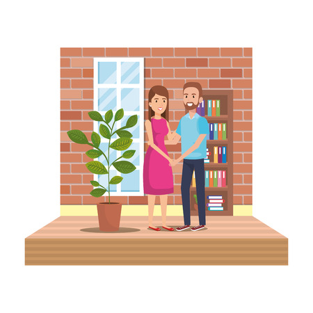 couple in livingroom place scene vector illustration design