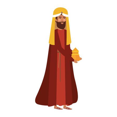 wise man manger character vector illustration design