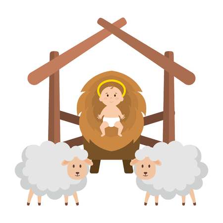 jesus baby in stable with sheeps vector illustration design