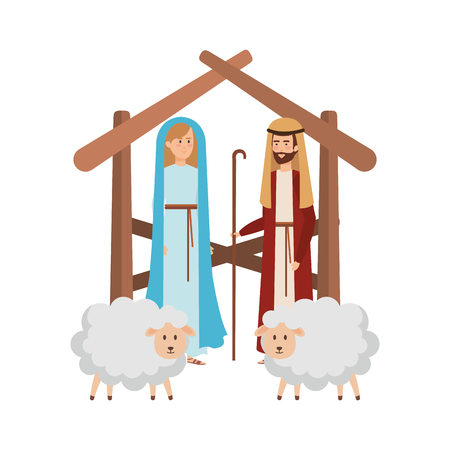 virgin mary and saint joseph with sheeps vector illustration design Banque d'images - 110297224