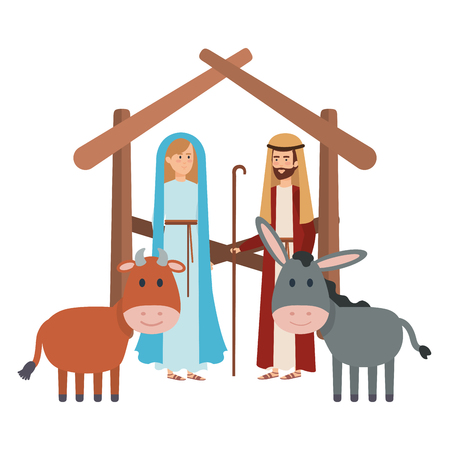 virgin mary and saint joseph with animals vector illustration design