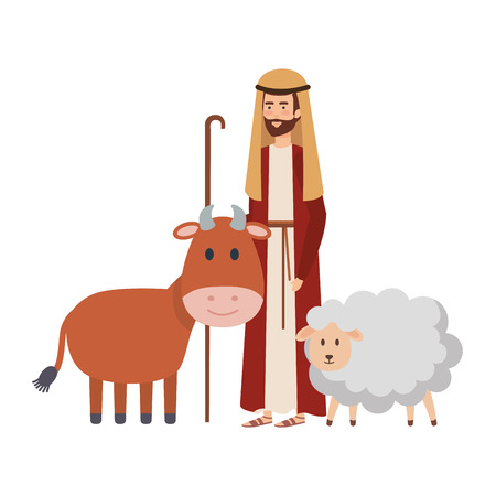 saint joseph with ox and sheep vector illustration design