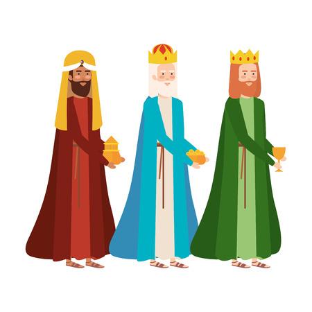Reyes sabios pesebre personajes diseño ilustración vectorial
