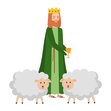 wise man with sheeps manger characters vector illustration design